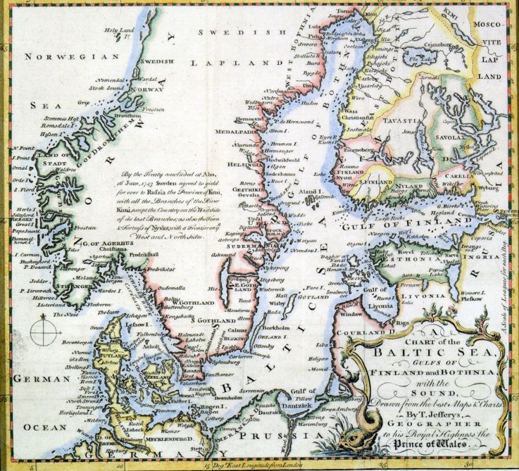 Thomas Jeffreysin kartta 1751, kuva: vanhakartta.fi