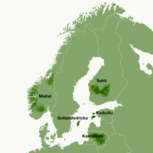Nordic-Baltic farmhouse ales on a map